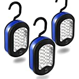 Cade 3 LED Compact Work Lights, 24 LEDs-Magnetic & Hook 2-in-1 Design(Black&Blue)