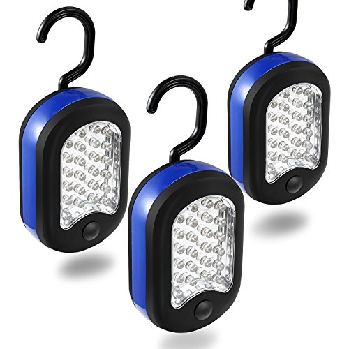 Cade 3 LED Compact Work Lights, 24 LEDs-Magnetic & Hook 2-in-1 Design(Black&Blue) by CALIFORNIA CADE ELECTRONIC