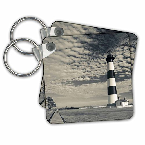 (Danita Delimont - Lighthouse - North Carolina, Outer Banks, Bodie Island Lighthouse. Sepia - Key Chains - set of 2 Key Chains (kc_231437_1))
