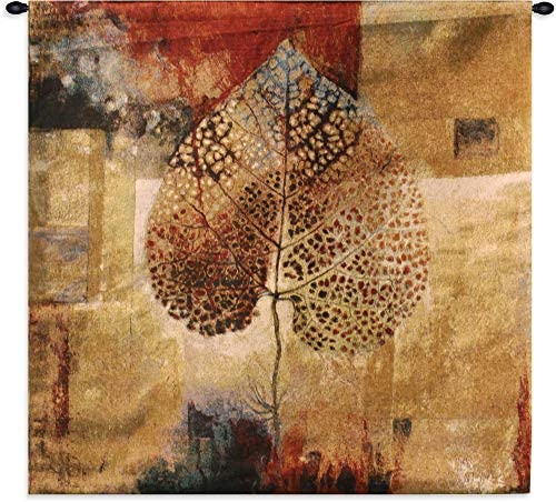 Abstract Autumn by Jae Dougall Woven Tapestry Wall Art Hanging Warm Fall Maple Leaf Artwork 100 Cotton USA Size 35×35