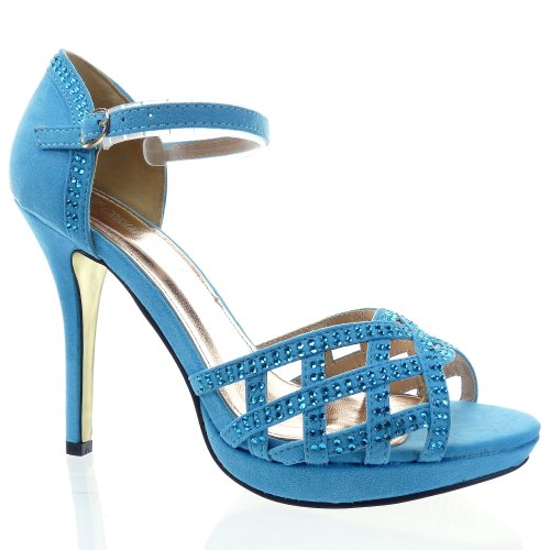 Kickly - damen Mode Schuhe Pumpe Sandalen Strass Schuhabsatz Stiletto - Blau T 39 - UK 6
