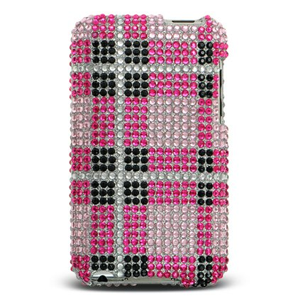 Sparkling Pink Plaid Checker Full Diamond Rhinestone Snap on Hard Skin Faceplate Bling Cover Case for Apple Ipod Touch Itouch 2nd Gen 3rd - Case Faceplate Cover Ipod
