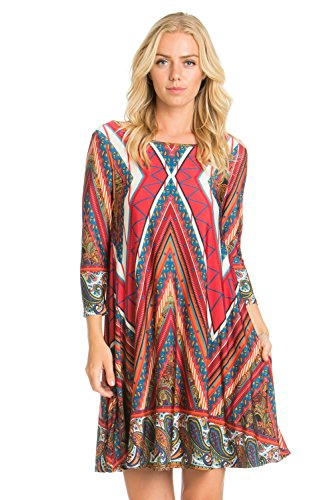 12TREES Women's 3/4 Sleeve Print Side Pocket A-Line Comfy Casual Tunic Dress (D7659 Ruby Multi16, - Print Tunic Ruby