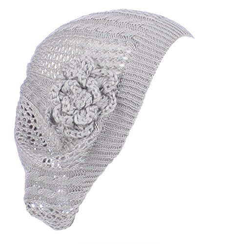AN- Womens Fashion Lightweight Cutout Crochet Knit Beret Beanie Hat w/ Flower , Various Patterns (Light Gray Cable)