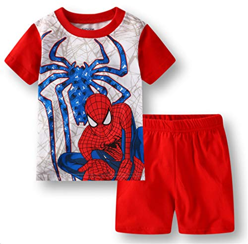 Boys Pajamas 100% Cotton Spiderman Short Kids Snug Fit Pjs Summer Toddler Sleepwear (RED, 6T)]()