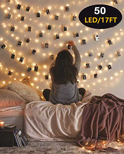 HEHUI Photo Clips String Light, 17FT 50LED Waterproof Fairy Lights for Outdoor/Indoor Deco, 8 Lighting Modes, USB&Battery Powered Led Photo Clips String Lights for Christmas/Home/Dorm/Party Decoration