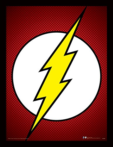 iPosters DC Comics The Flash Symbol Framed 30 x 40 Official Print - Overall Size: 36 x 46 cm (14 x 18 inches) Print Size: 30 x 40 cm