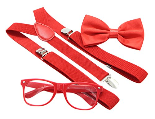 JAIFEI Hipster Nerd Outfit | Whimsical Sunglasses + Adjustable Suspenders + Bowtie Set | For Costume Parties & Hip Events -