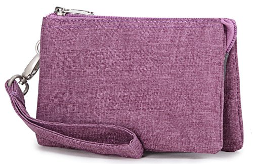 Crest Design Water Repellant Nylon Wristlet Clutch Wallet Cell Phone Pouch (Orchid)