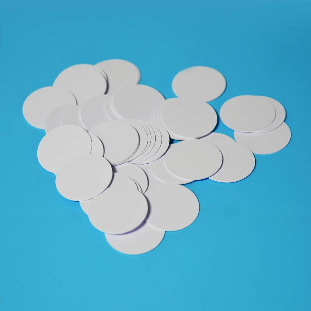 NTAG215 NFC Tag Blank White NFC PVC Cards Round Label 35mm 1.38 inches for All NFC Enabled Phones, 100% Compatible with Amiibo and TagMo by TimesKey-100PCS by Timeskey NFC