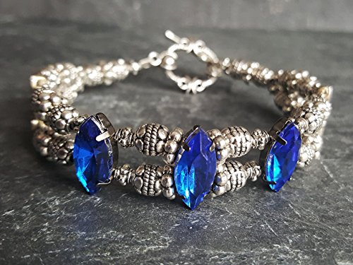 Cobalt Blue Bracelet Gothic Jewelry Lolita Fashion Ren Faire Cocktail Bracelet Prom Bracelet Event Jewelry Gift for - Faire Fashion