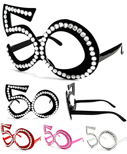[2 Pair Fifty 50's Novelty Birthday Party Glasses - Costume Dressup Sunglasses for Men or Women] (50s Costumes Women)