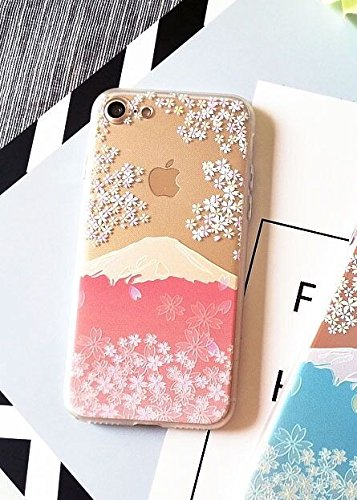 iPhone 6/iPhone 6S Case,Blingy's and Cool Transparent Soft Rubber TPU Case for Apple iPhone 6/iPhone 6S (Cherry Blossom Mountain)