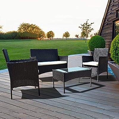 igzzia 4 PCS Garden Rattan Sofa set With Glass Table
