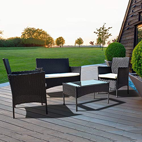 igzzia 4 PCS Garden Rattan Sofa set With Glass Table
