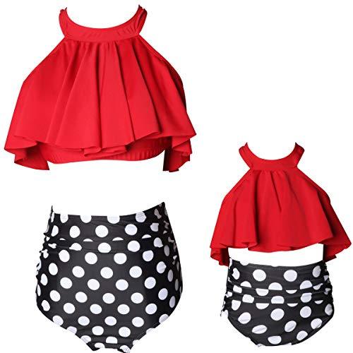 KABETY Girls Swimsuit Two Pieces Bikini Set Ruffle Falbala Swimwear Bathing Suits (Red B, 7-8 Years)