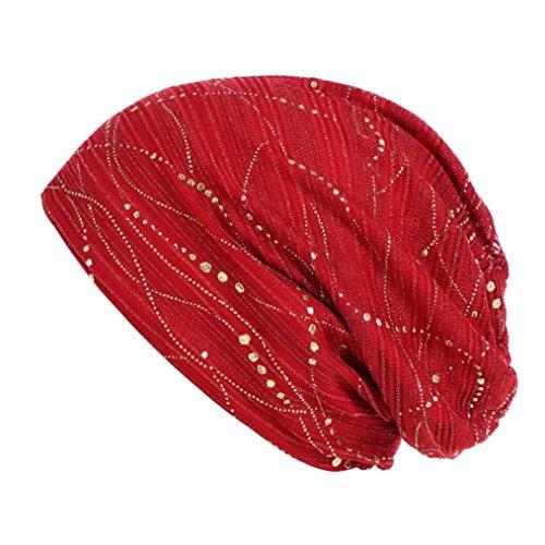 (AutumnFall Women Solid Bead Muslim Hat Stretch Retro Turban Hat Head Wrap Cap)