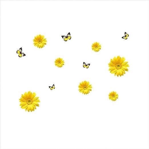 LDJH Etiqueta de la Pared Flores Amarillas Combinación Decorativa ...