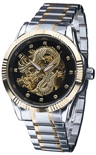 - Daniel Steiger Dragon Automatic Men's Watch - Golden Chinese Dragon Dial with Black Surround - Crystal Hour Markers - Two-Tone Gold & Steel Finish