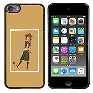 Planetar® ( Brown de oro Amarillo Beige Chica Golf ) Apple iPod Touch 6 6th Touch6 Fundas Cover Cubre Hard Case Cover