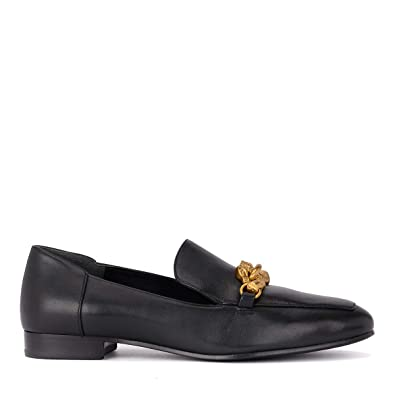 ff1b244bcab Tory Burch Women s Black Leather Jessa Loafer Gold Buckle (6 M ...