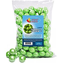 Gumballs in Bulk - Green Gumballs for Candy Buffet - Gumballs 1 Inch - Bulk Candy 2 LB