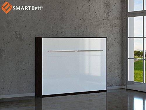Schrankbett SMARTBett Klappbett 140cm Horizontal Wenge / Weiß Hochglanz Front