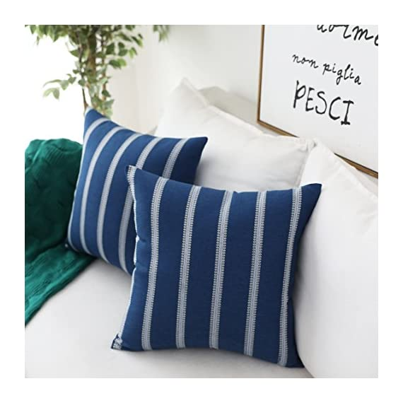 Home Brilliant Striped Farmhouse Decor Accent Decorative Throw Pillows Covers Cushion Covers for Outdoor Bench Couch Room, 2 Packs, 18 x 18 inches(45x45cm), Navy Blue - Material: Natural eco-friendly materials,this is your most suitable choice. This cushion cover could surely provide a warm, welcoming feeling to your daily life. Size: 18x18 inch/ 45x45cm(1-2cm deviation). Package contains 2 pieces of pillow cover, NO PILLOW INCLUDED. Design: All vivid embroidery pattern, concluded stripes and checkers design. Pattern available in both sides. Suitable for sofa, bed, home, office, living room, outdoor. - patio, outdoor-throw-pillows, outdoor-decor - 51fg x5XroL. SS570  -