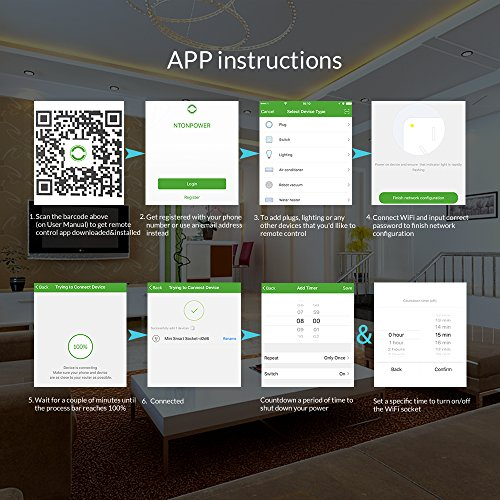 NTONPOWER WiFi Smart Plug in Wall Remote Control Wireless Socket Timer with ON/OFF Switch for Light Electrical Appliance(For iOS 8.0+/ Android 4.4+), Compatible with Alexa- White by NTONPOWER (Image #2)