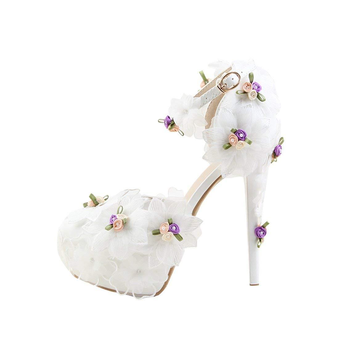 Qiusa Damen versteckt Plattform Stöckelabsatz Weiß Braut Hochzeit Schuhe mit Spitzen Blaumen UK 8 (Farbe   - Größe   -)