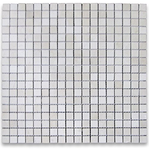 Crema Marfil Spanish Marble Square Mosaic Tile 5/8 x 5/8 Polished
