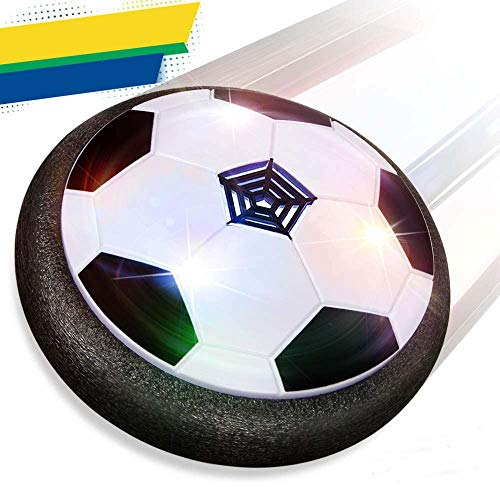 IFUN HIGH Air Power Soccer Disk Soft Foam Bumpers Floating Football Games Hover Ball Colorful LED Lights Indoor and Outdoor Training Football Girls and Boys Gifts