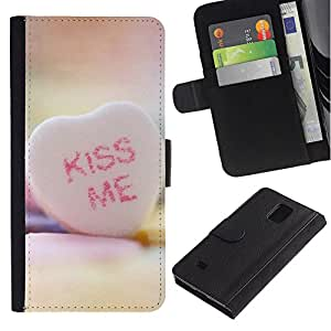 JackGot ( KISS ME Cuore ) Samsung Galaxy Note 4 IV la tarjeta de Crédito Slots PU Funda de cuero Monedero caso cubierta de piel