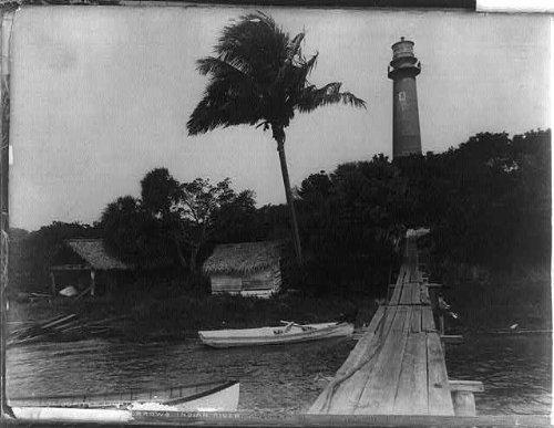 HistoricalFindings Photo: Jupiter Lighthouse,Jupiter,Palm Beach County,Florida,FL,1890-1900,boats,palmtree