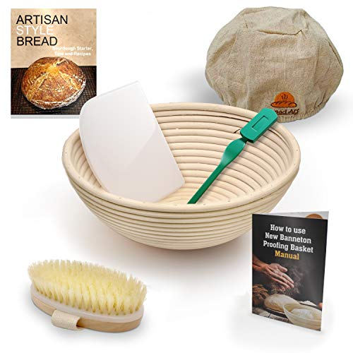 9 Inch Bread Banneton Sourdough Proofing Basket Set with Bread Lame, Dough Scraper, Cloth Liner, Cleaning Brush, Brotform Manual free - Proofing Basket