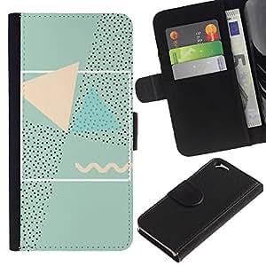 KingStore / Leather Etui en cuir / Apple Iphone 6 / Resumen 90'S Arte Rosa Verde;