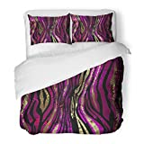 SanChic Duvet Cover Set Purple Abstract Animal Leopard Africa Black Camouflage Jungle Retro Decorative Bedding Set 2 Pillow Shams King Size