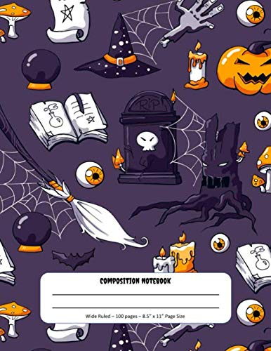 Graveyard Girl Halloween Treat Bags (Composition Notebook: Halloween Theme - Wide Ruled Pages - Perfect for Writing and Drawing at Home or)