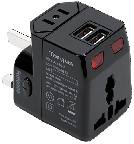 Targus World Travel Power Adapter with Dual USB Charging Ports for Laptops, Phones, Tablets, or Other Mobile Devices (APK032US) by Targus