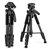 Portable Travel Lightweight Camera Tripod for Canon Nikon Sony Olympus DV DSLR SLR with a Bag, Adjustable from 18inch to maximum height of 55inch, Weights only 2.6lb, Load Up to 11lbs(Black)