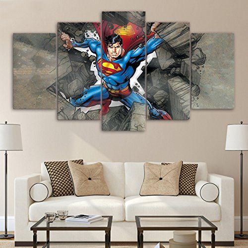 [Medium] Premium Quality Canvas Printed Wall Art Poster 5 Pieces / 5 Pannel Wall Decor Superman Painting, Home Decor Pictures - With Wooden Frame (Superman Picture)