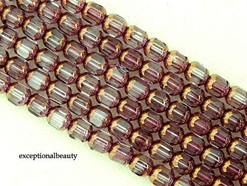 50 Amethyst Purple Gold Preciosa Czech Glass 6mm Faceted Cathedral Rosary Beads
