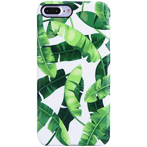 Case Banana (iPhone 7 Plus Case,iPhone 8 Plus Case,VIVIBIN Shock Absorption Anti-Scratch Matte TPU Soft Rubber Silicone Cover Phone Case for iPhone 7 Plus/8 Plus 5.5inch (Banana Leaves-078))