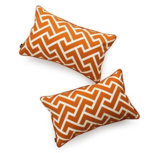 (Hofdeco Decorative Lumbar Pillow Cover INDOOR OUTDOOR WATER RESISTANT Canvas Maple Orange City Maze 12