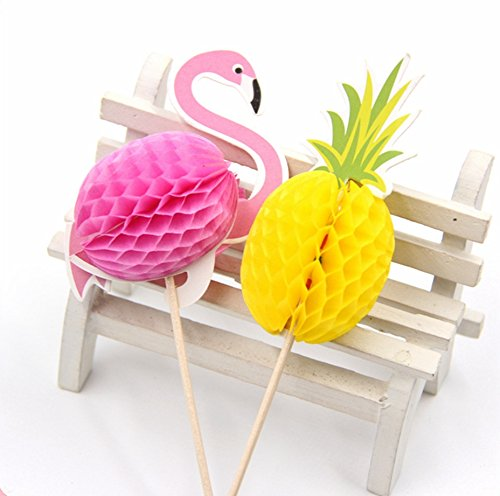 Price comparison product image 20PCS Flamingo Cupcake Toppers DIY Cakes Topper Picks Pinapple Topper Wedding/Birthday Party Decoration Baby Shower Supplies