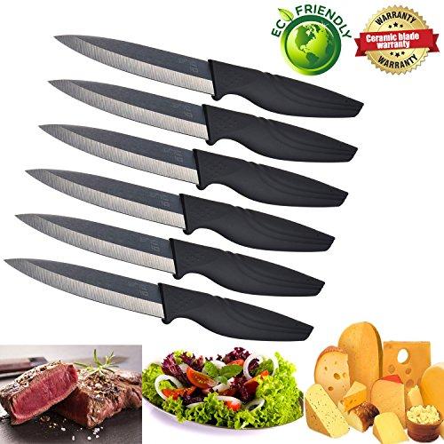 Kitchen NANO ID Ceramic Steak Knife Extremely Sharp Ceramic Black Blade Knife