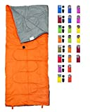 REVALCAMP Lightweight Orange Sleeping Bag Indoor & Outdoor use. Great Kids, Youth & Adults. Ultralight Compact Bags are Perfect Hiking, Backpacking, Camping & Travel.