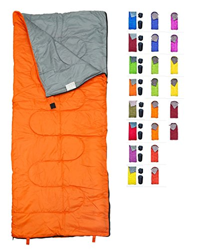 (REVALCAMP Lightweight Orange Sleeping Bag Indoor & Outdoor use. Great for Kids, Youth & Adults. Ultralight and Compact Bags are Perfect for Hiking, Backpacking, Camping & Travel.)