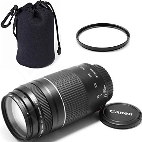Canon EF 75-300mm f/4-5.6 III Telephoto Zoom ZeeTech Premium Lens Bundle + High Definition U.V. Filter + Deluxe Pouch for Canon Digital SLR Cameras For Sale