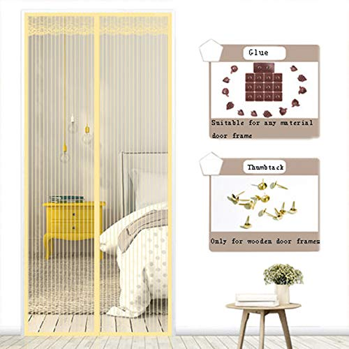ALSGON Mesh Door Screen with Magnets,Keep Bug Out Dogs Children Friendly Fit Door Opening Heavy Duty Large Door Mesh for Sliding French Door Used for Fishing Boats, Ships,Beige,210x220cm(83x87in)